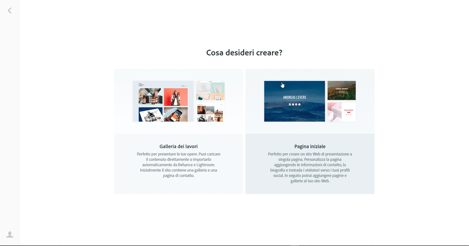 Adobe Portfolio - Galleria dei Lavori o Pagina Iniziale