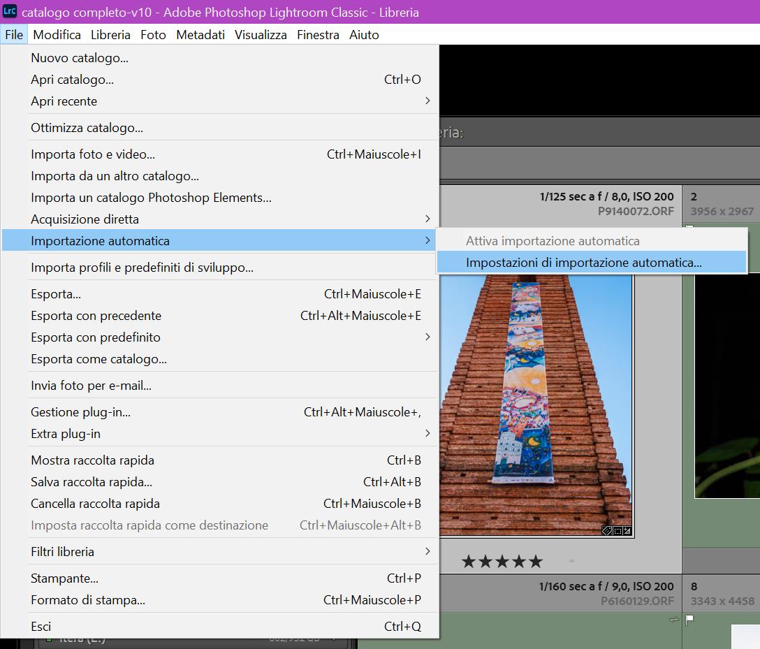 Ligtroom Classic - Seleziona dal menu File/Impostazioni di importazione automatica...
