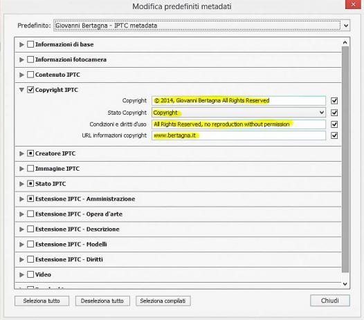 Modifica predefiniti metadati - Adobe Lightroom - Copyright ITPC