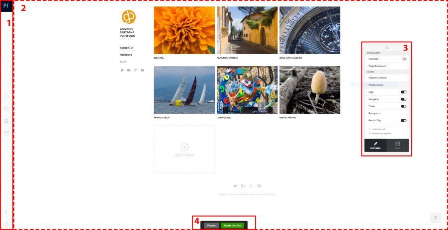 Adobe Portfolio - Editor