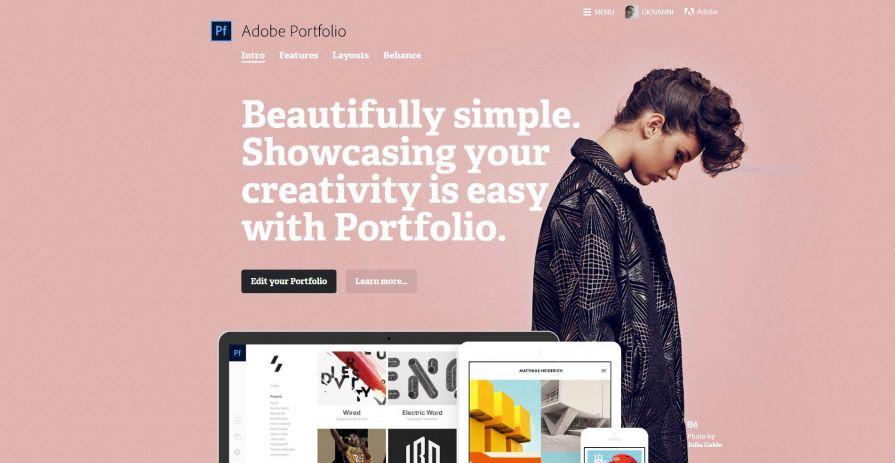 Adobe Portfolio - La pagina di benvenuto