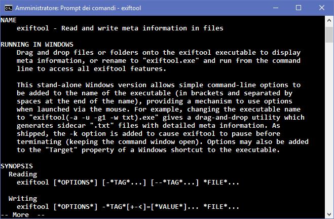 exiftool - promt dei comandi