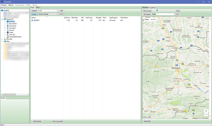 ExifToolGUI - interfaccia Googlemap