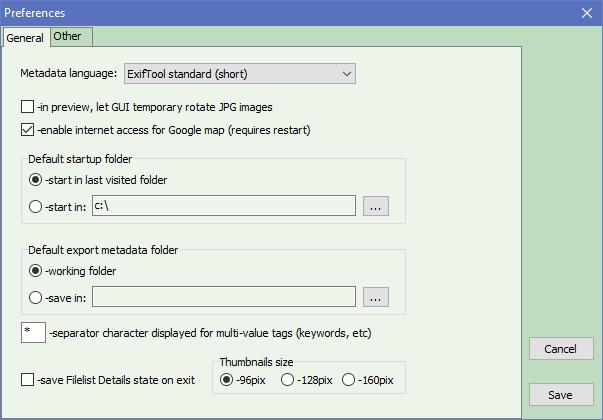 ExifToolGUI - preferences