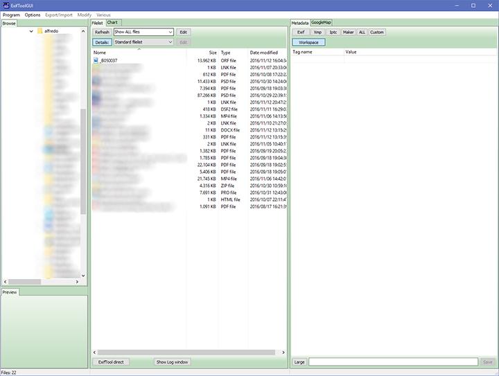 ExifToolgui - interfaccia grafica