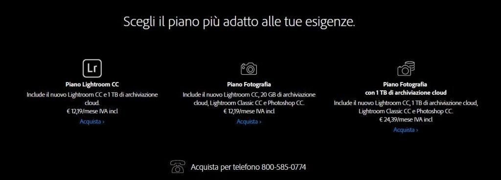 Adobe Piano Fotografia - Lightroom Classic CC