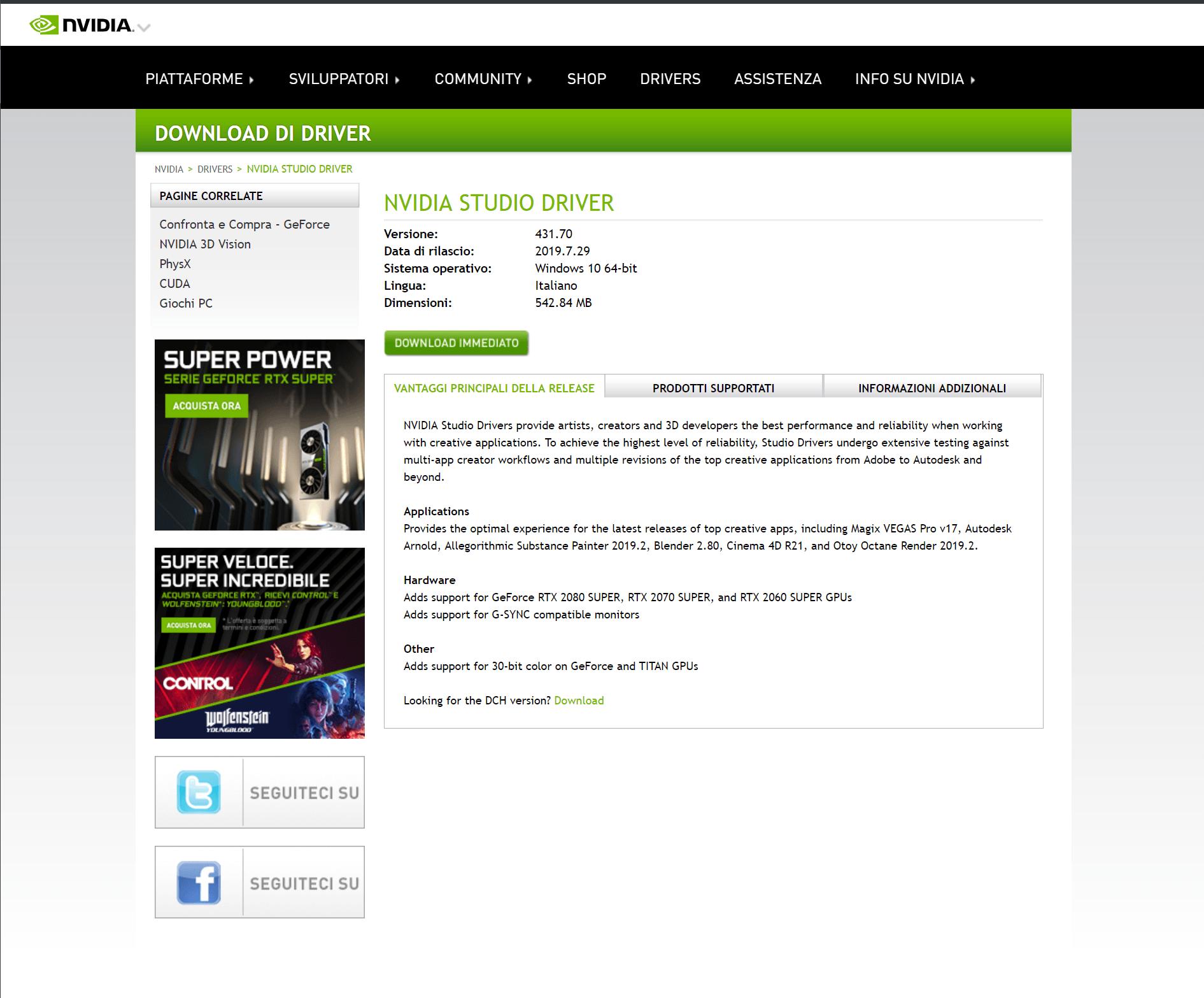 Pagina di download dei driver - Tratto dal sito web nvidia.com