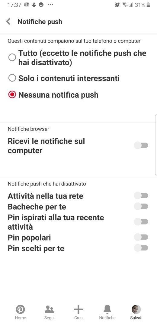 Pinterest impostazioni notifiche push