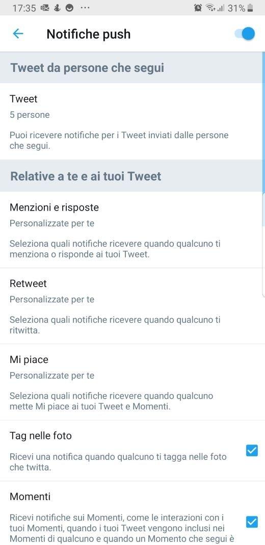 Twitter impostazioni push