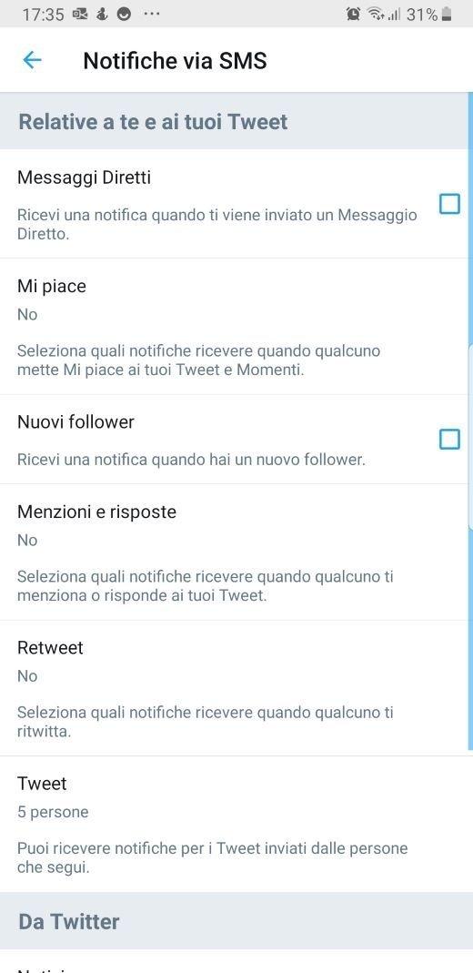 Twitter notifiche SMS