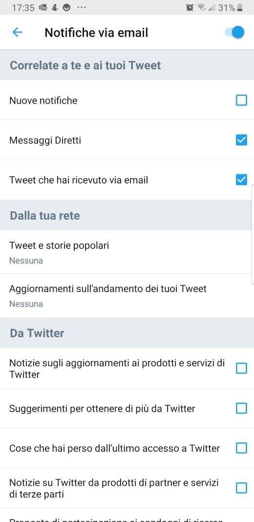 Twitter notifiche email