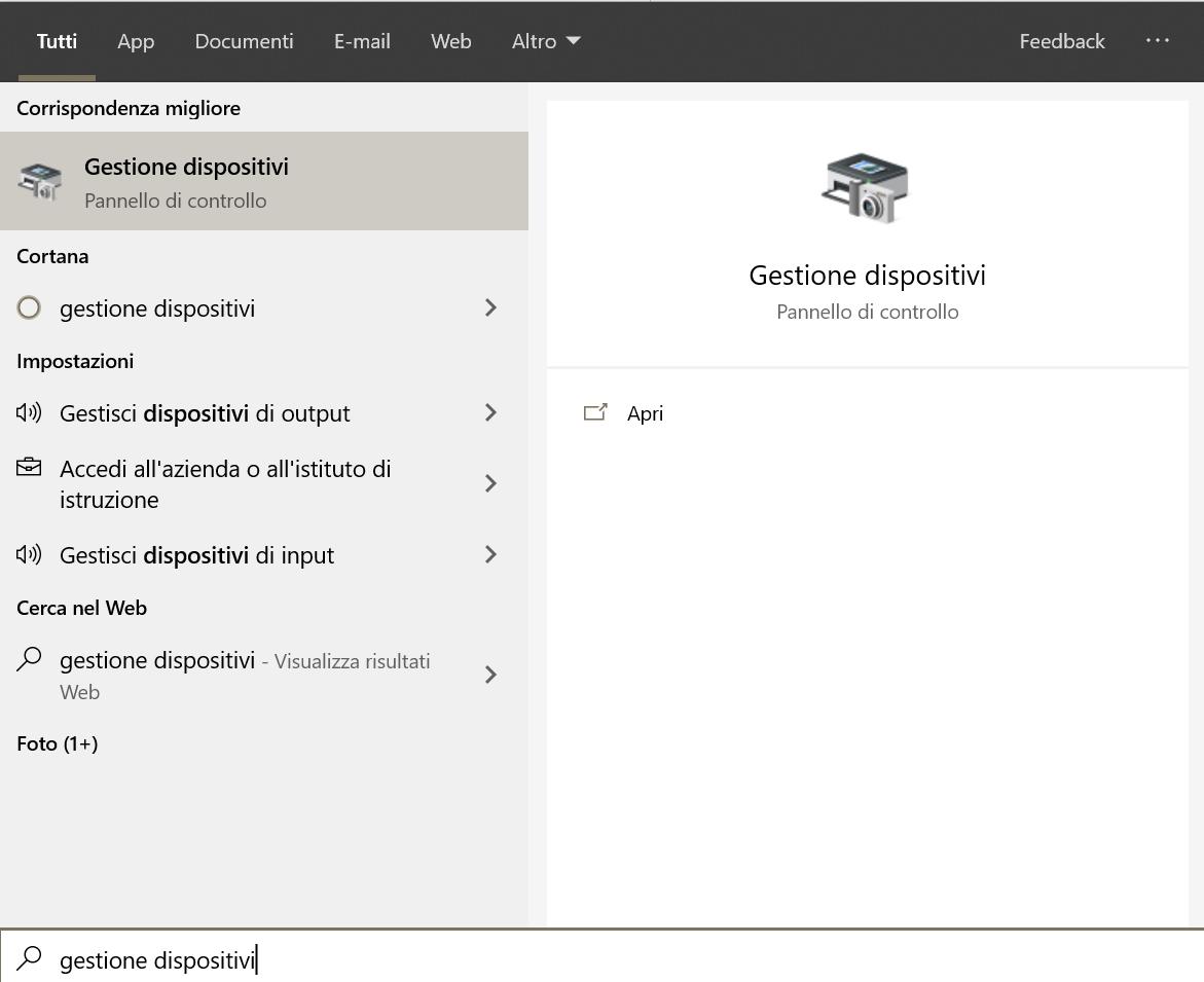 """Start di Windows 10 - Ricerca """"gestione dispositivi"""""""