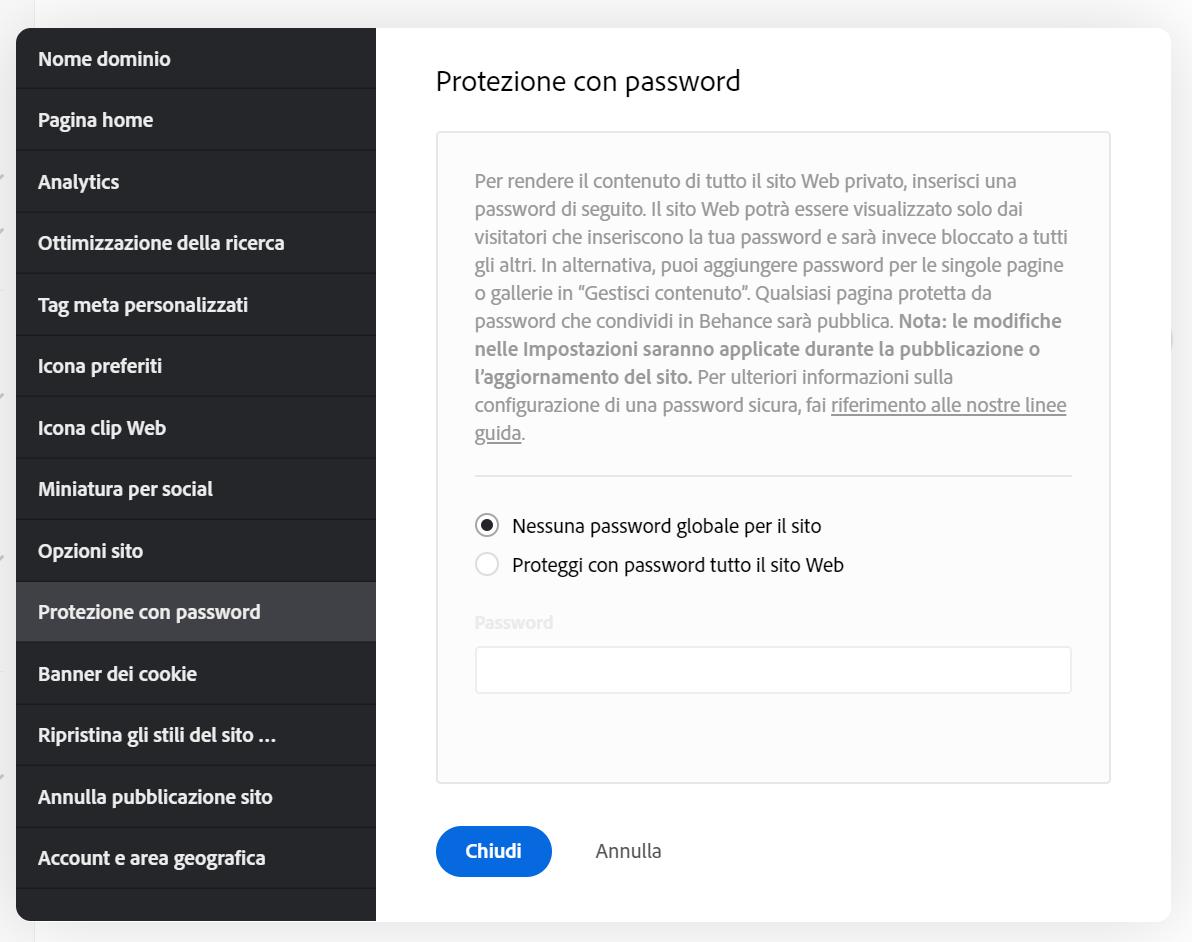 Adobe Portfolio - Impostazioni password