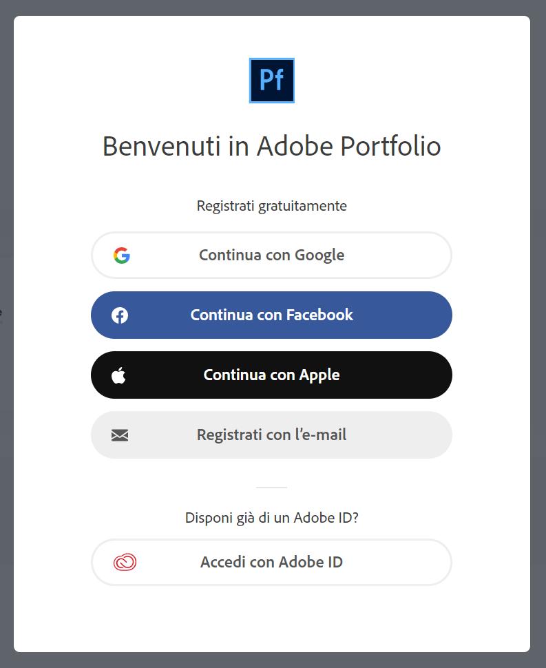 Adobe Portfolio - Registrazione gratuita