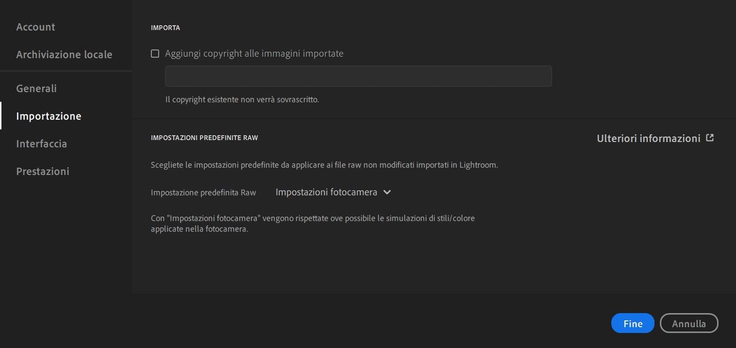 Importare i file Raw - Lightroom CC - Preferenze