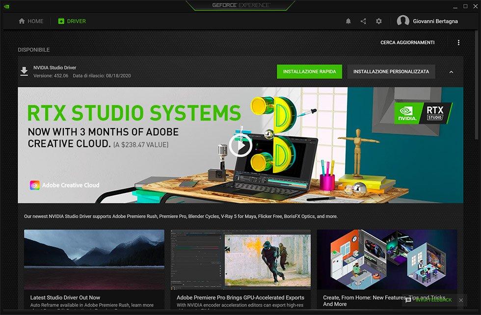 Fotografia e Tecnologia agosto 2020 - NVIDIA Studio Driver
